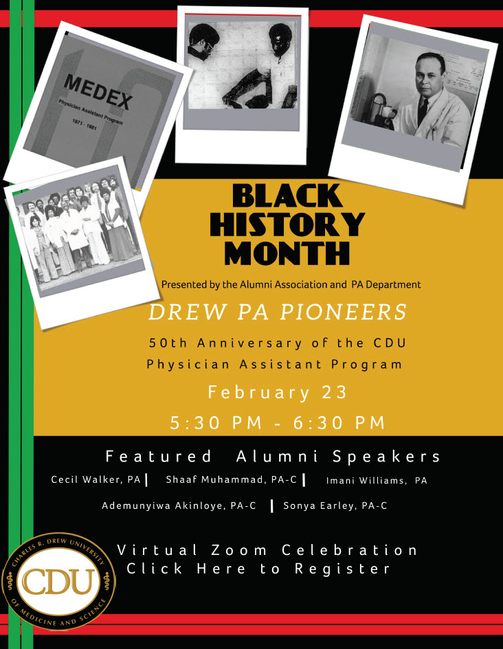 Black History Month Event Join Us for the 50th Anniversary Celebration of the Physician Assistants Program