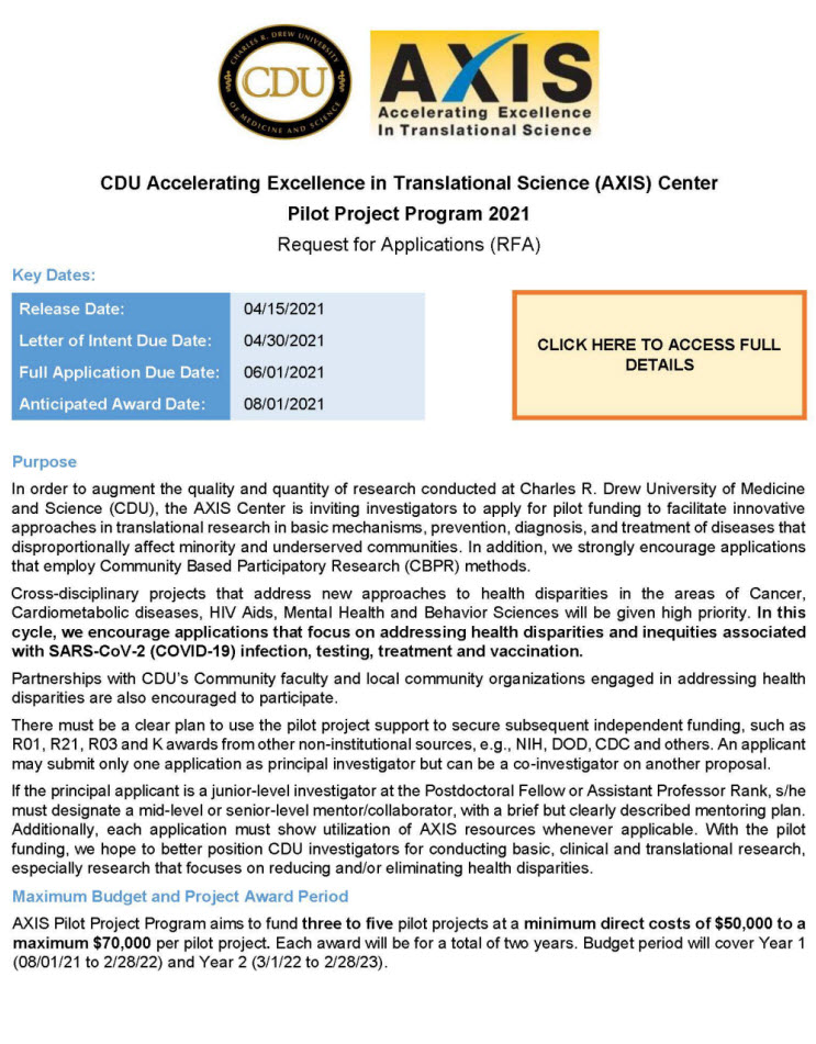 Ang CDU Accelerating Excellence in Translational Science (AXIS) Center Pilot Project Program 2021