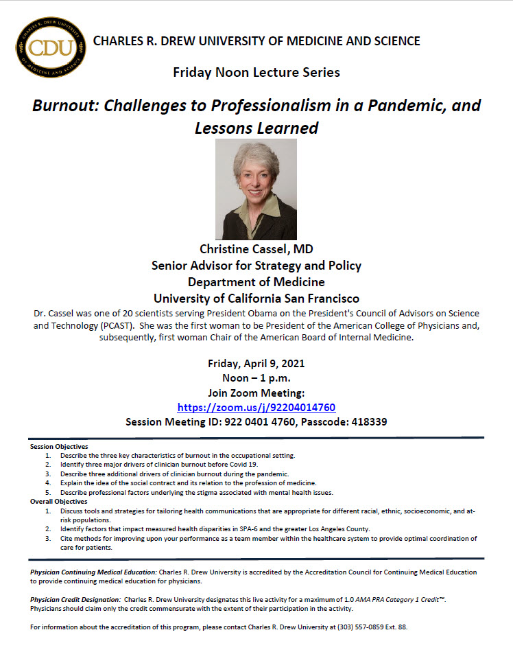 Friday Noon Lecture Series: Burnout: Challenges to Professionalism in a Pandemic, and Lessons Learned