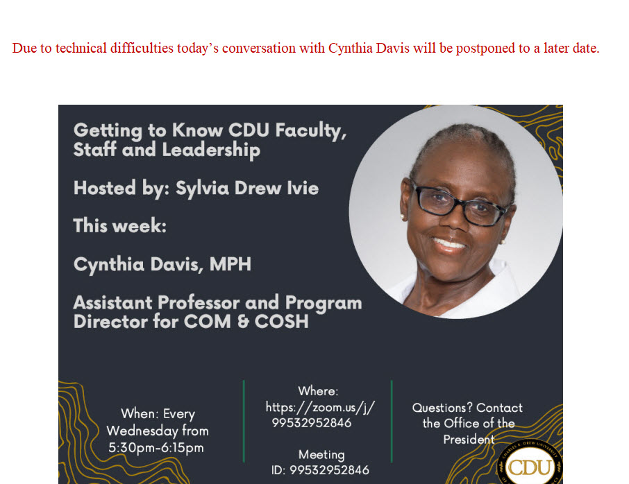 Getting to Know CDU Faculty Staff and Leadership Cynthia Davis APRIL 7