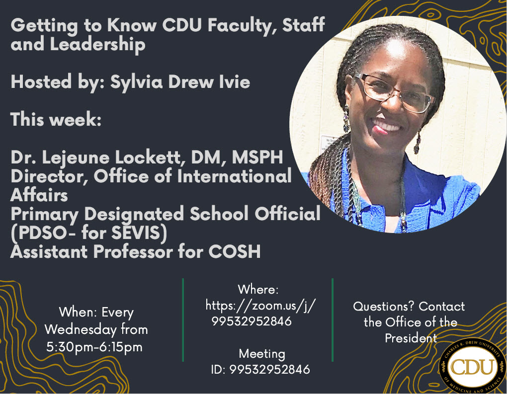 Getting to Know CDU Faculty, Staff and Leadership - Lejeune Lockett (May 5)