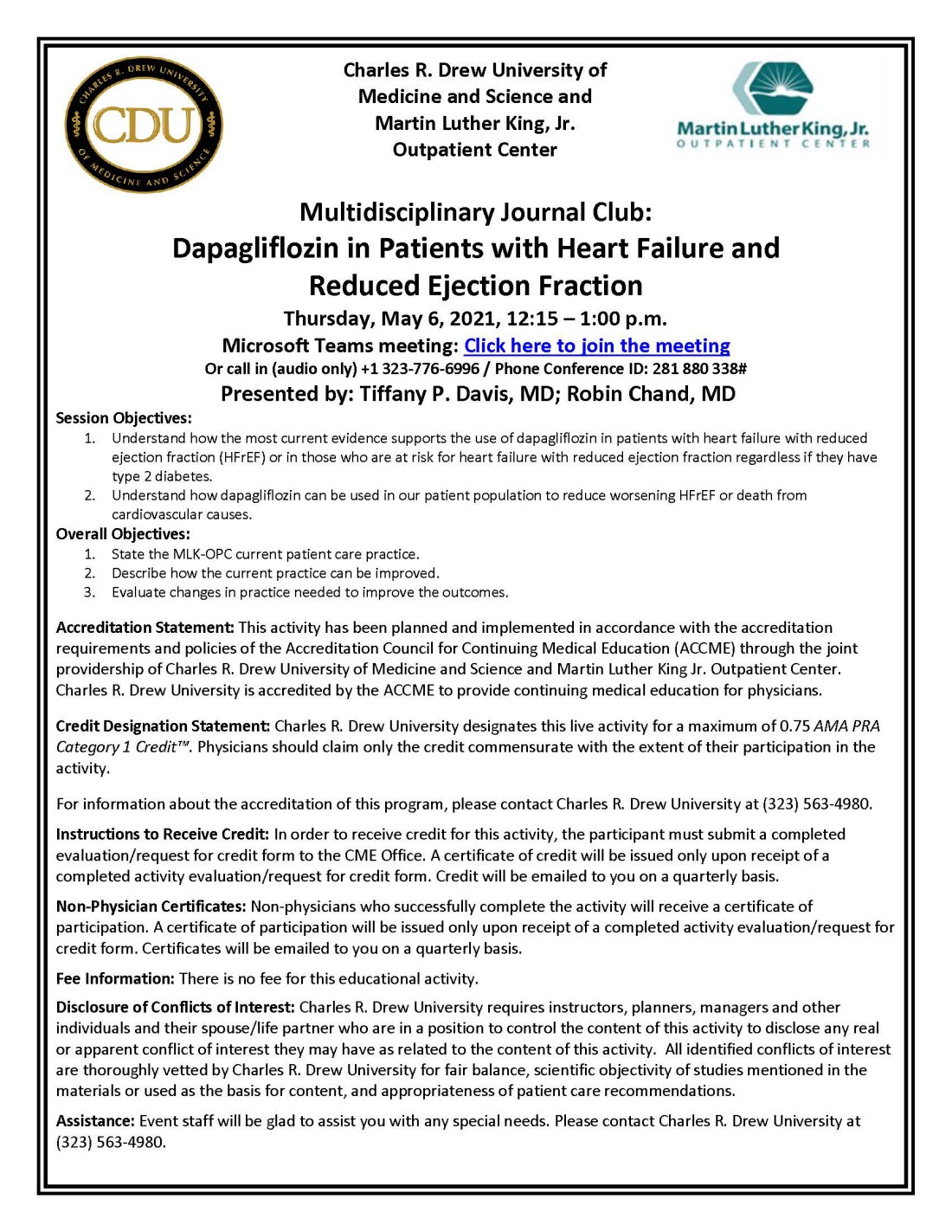 In Addition to FNLS - Multidisciplinary Journal Club: Dapagliflozin in Patients with Heart Failure and Reduced Ejection Fraction